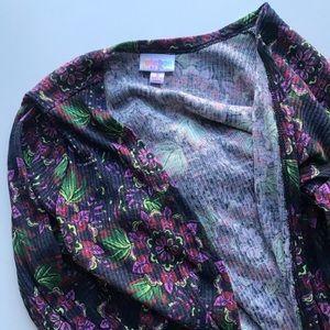 Lularoe purple floral Sarah duster cardigan sz s